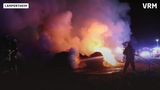 Brennende Heuballen in Lampertheim