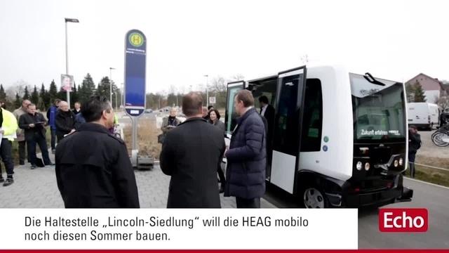 Autonom fahrender Elektro-Kleinbus in Darmstädter Lincoln-Siedlung