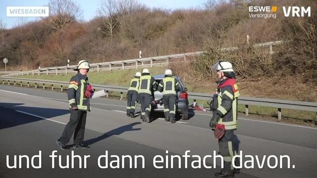 Unfall auf der A66 bei Wiesbaden-Nordenstadt
