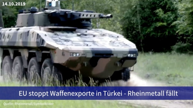 Aktie im Fokus: EU stoppt Waffenexporte in Türkei - Rheinmetall fällt