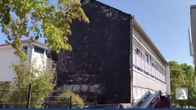 Brand an Schule in Gau-Bischofsheim