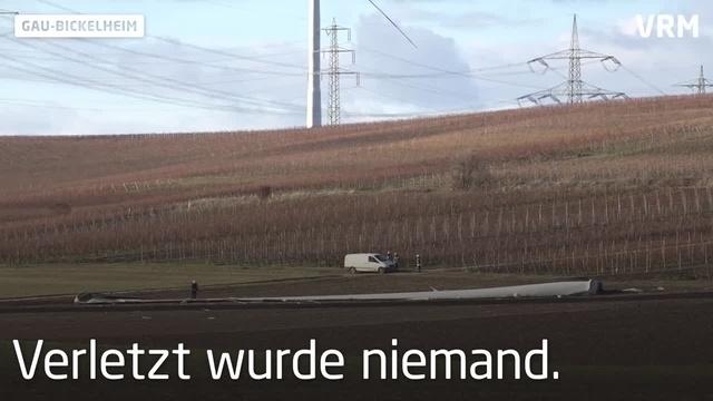 Gau-Bickelheim: Rotorblatt eines Windrades bricht ab