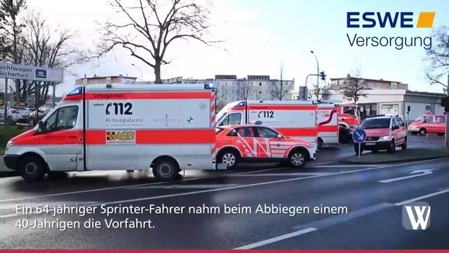Schwerer Verkehrsunfall in der Wiesbadener Straße in Kastel