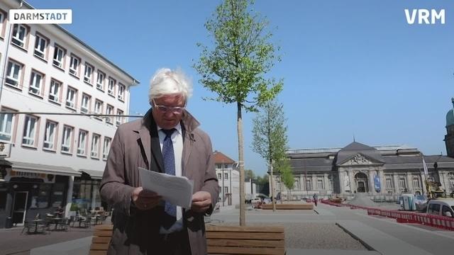 Umbau des Friedensplatzes in Darmstadt schreitet voran