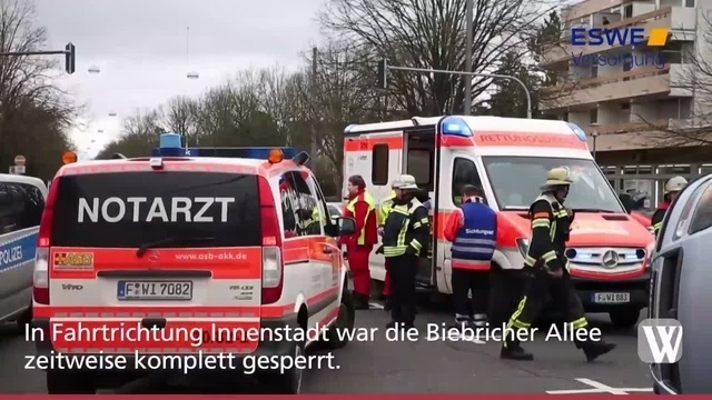 Unfall auf der Biebricher Allee in Wiesbaden