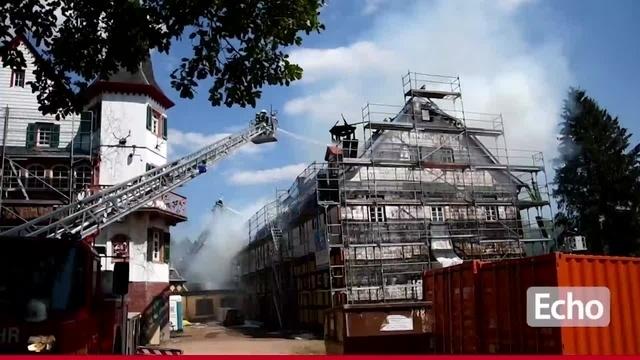 Brand am Eulbacher Schloss in Michelstadt
