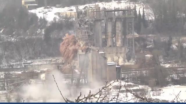 Stromberg: Sprengung des alten Kalkwerks