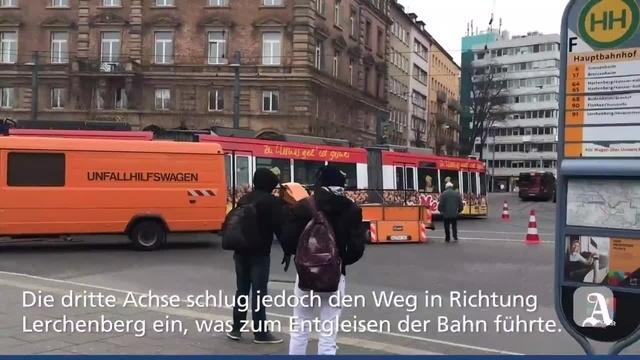 Straßenbahn am Mainzer Hauptbahnhof entgleist
