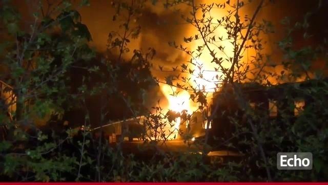 Großbrand am Erlenhof in Griesheim