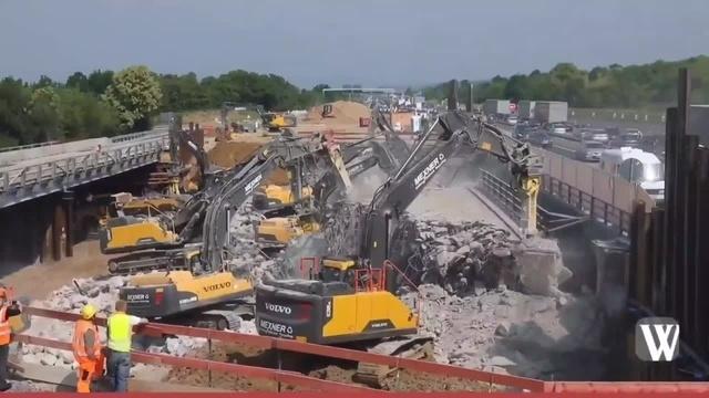 Großbaustelle Wiesbadener Kreuz: Brücke über A66 wird abgerissen