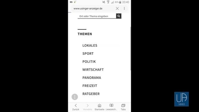 Die neue Homepage des Usinger Anzeigers