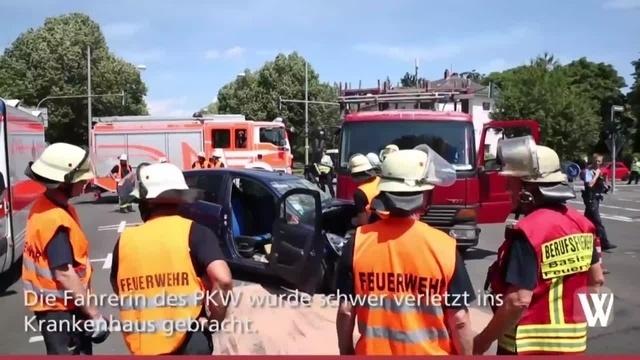 Schwerer Unfall auf der Biebricher Allee in Wiesbaden