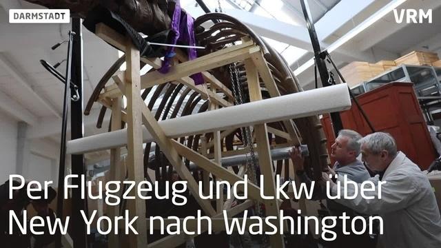 Auf in die USA - Darmstädter Mastodon wird verpackt