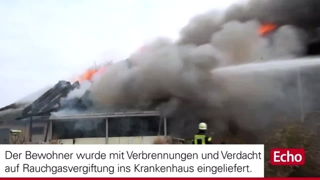 Wohnhausbrand in Lampertheim-Rosengarten