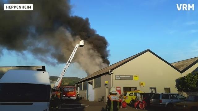 Großbrand in Heppenheimer Autowerkstatt