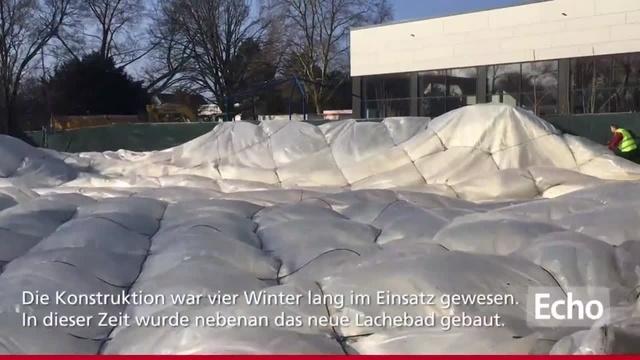 Traglufthalle in Rüsselsheim zum letzten Mal abgebaut