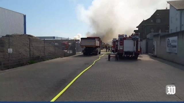 Brand bei der Velte Rohstoffhandel GmbH in Worms