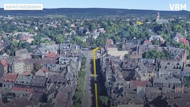 3D-Flug über den Linienverlauf der City-Bahn Wiesbaden