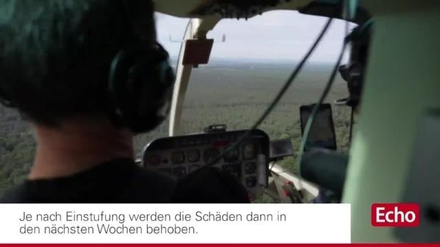 Helikopterflug zur Stromnetzüberprüfung im Landkreis Darmstadt-Dieburg