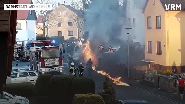 Autobrand in Darmstadt-Wixhausen