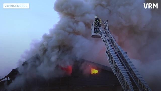 Brand eines Einfamilienhauses in Zwingenberg