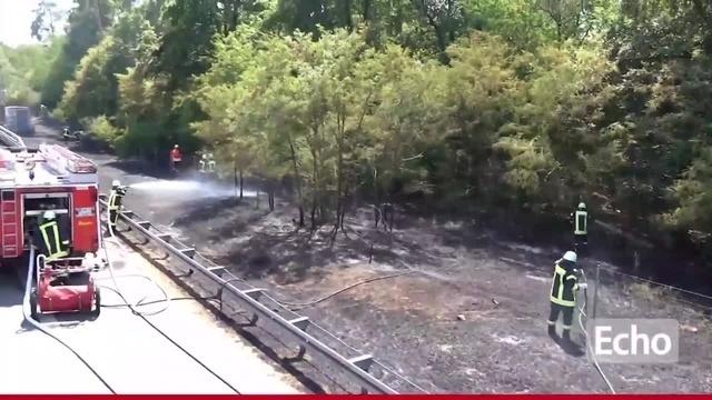 LKW löst Flächenbrand auf A67 bei Lorsch aus