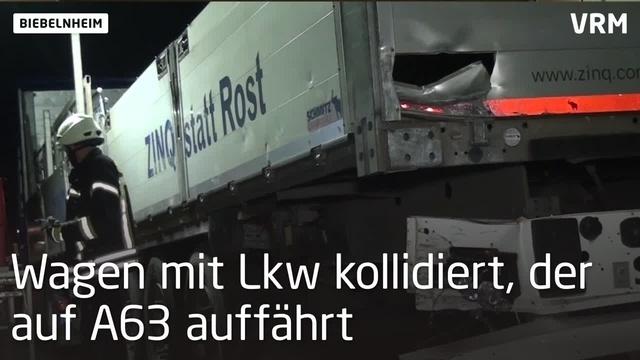 Zwei Verletzte bei Unfall auf der A63 bei Biebelnheim