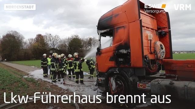 Lkw brennt in Wiesbaden-Nordenstadt